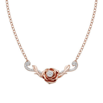 Enchanted Disney Fine Jewelry Womens 1/10 CT. T.W. Genuine White Diamond 10K Rose Gold Flower Beauty and the Beast Pendant Necklace