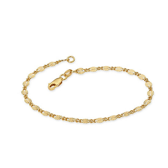 Made in Italy 24K Gold Over Silver Sterling Silver 7.5 Inch Solid Link Link Bracelet