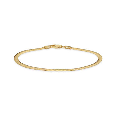 Made in Italy Gold Tone 24K Gold Over Silver Sterling Silver 7.5 Inch Solid Snake Link Bracelet