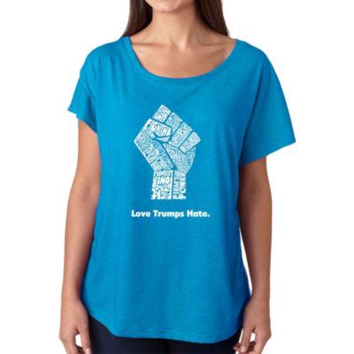 Los Angeles Pop Art Women's Loose Fit Dolman Cut Word Art Shirt - Love Trumps Hate Fist