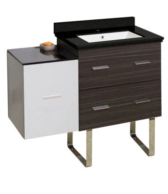 37.75-in. W Floor Mount White-Dawn Grey Vanity SetFor 1 Hole Drilling Black Galaxy Top White UM Sink