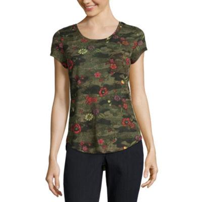 Wallflower Short Sleeve Scoop Neck Stripe T-Shirt-Womens Juniors
