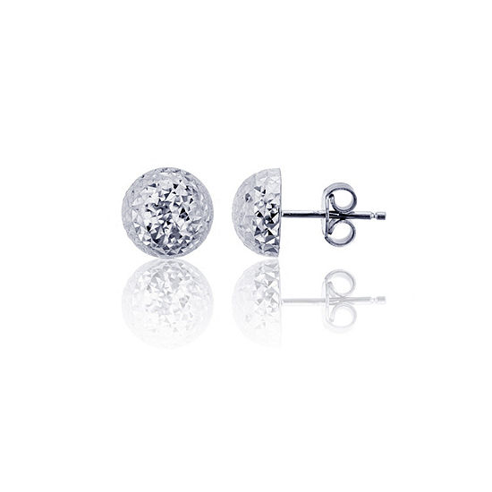 14K White Gold 6mm Stud Earrings