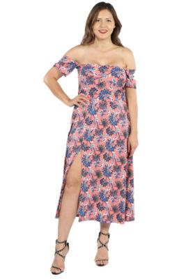 24Seven Comfort Apparel Nina Pink and Blue Floral Side Slit Dress - Plus