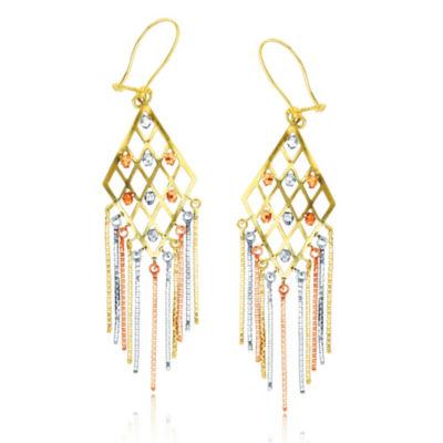 14K Tri-Color Gold Chandelier Earrings