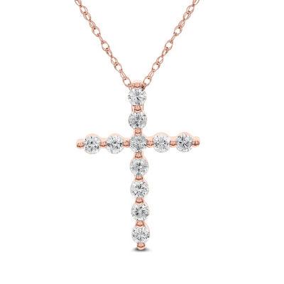 Womens 1 CT. T.W. Genuine White Diamond 14K Gold Cross Pendant Necklace
