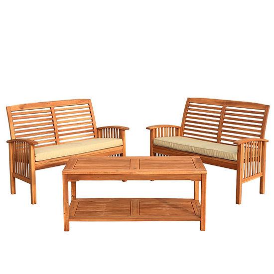 Acacia Wood 3-pc. Patio Conversation Set