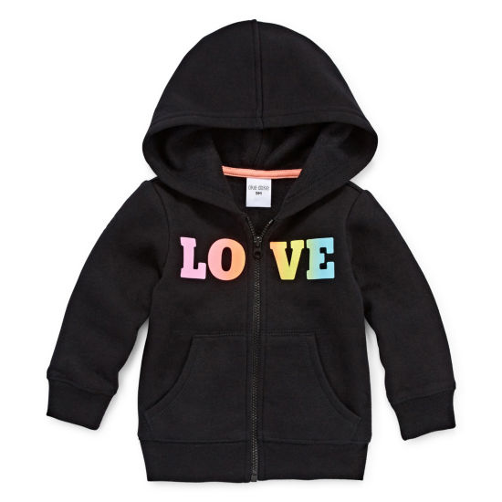 Okie Dokie LOVE Zip Up Fleece Hoodie - Baby Girl NB-24M