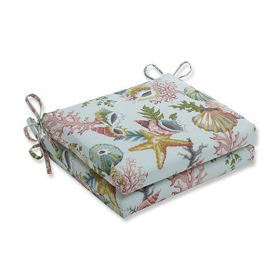 Pillow Perfect Set Of 2 Grantoli Seamist Squared Corners Patio Seat Cushion