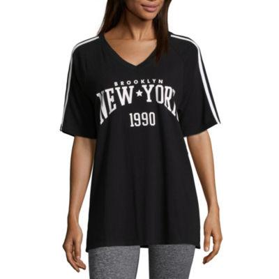 Flirtitude Short Sleeve Crew Neck Graphic T-Shirt-Juniors