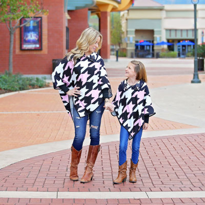 Mayah Kay Fashion Houndstooth Hooded Poncho
