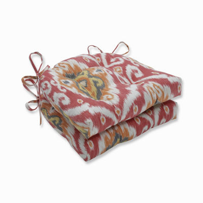 Pillow Perfect Set of 2 Ubud Coral Reversible Patio Seat Cushions