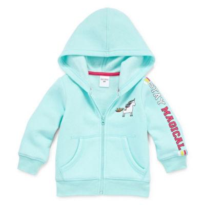 Okie Dokie Unicorn Zip Up Fleece Hoodie - Baby Girl NB-24M