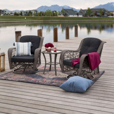 Hand-Woven Rattan Motion 3-pc. Chair Set with Cushions