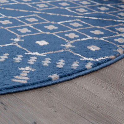 Tayse Heidy Transitional Geometric Round Rug