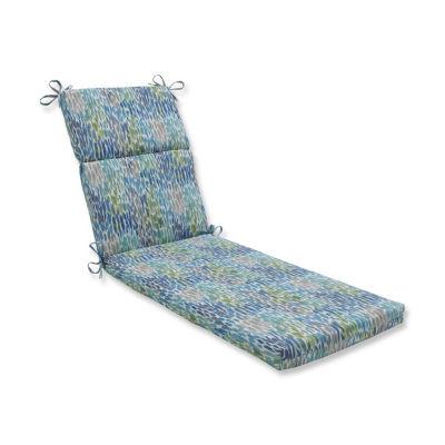 Pillow Perfect Make It Rain Cerulean Patio Chaise Lounge Cushion