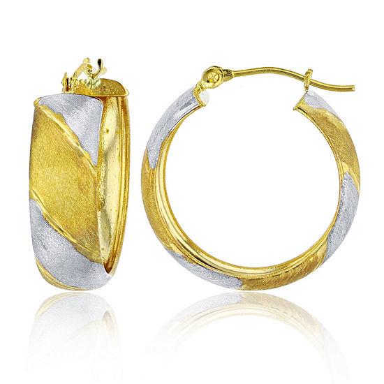14K Two Tone Gold 20mm Hoop Earrings