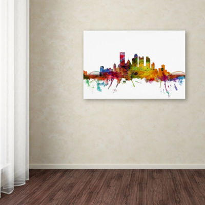 Trademark Fine Art Michael Tompsett Pittsburgh Pennsylvania Skyline Giclee Canvas Art