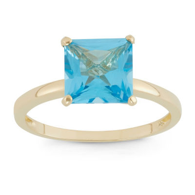 Womens Genuine Blue Topaz 10K Gold Solitaire Cocktail Ring