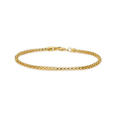 Made in Italy Gold Tone 24K Gold Over Silver Sterling Silver 7.5 Inch Solid Box Link Bracelet