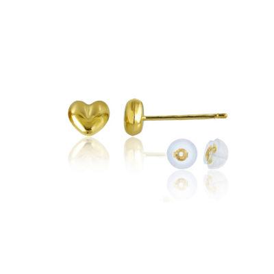 14K Gold 4.5mm Heart Stud Earrings