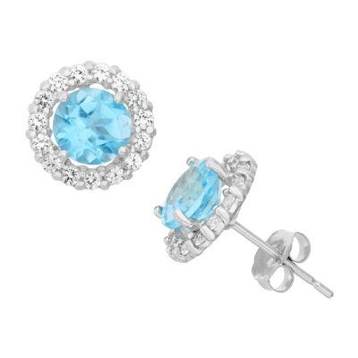 Genuine Blue Topaz 10K White Gold 9.5mm Round Stud Earrings