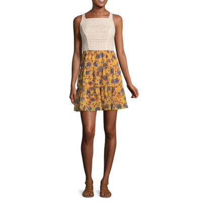 City Triangle Casual Sleeveless Skater Dress-Juniors