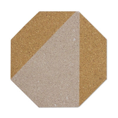 Brewster Wall Cream And Taupe Octagon Cork Organizer S Wall Decal