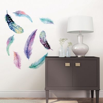 Brewster Wall Celestial Feathers Wall Art Kit Wall Decal
