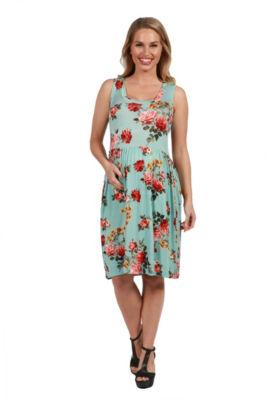 24Seven Comfort Apparel Nicole Floral Maternity Dress - Plus