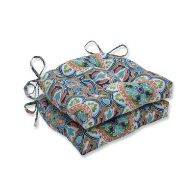Pillow Perfect Set of 2 Lagoa Tile Flamingo Reversible Patio Seat Cushions
