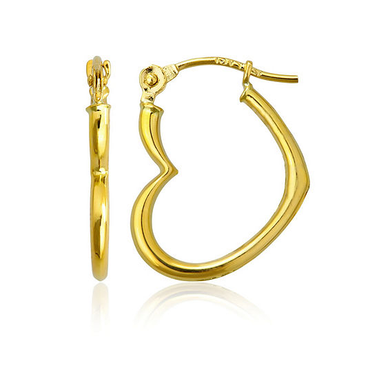 14K Gold 15mm Heart Hoop Earrings