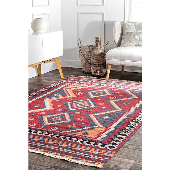 nuLoom Audra Tribal Diamonds Fringe Wool Flatweave Area Rug