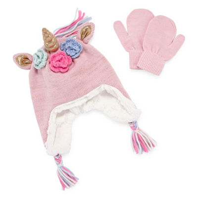 Capelli of N.Y. 2pc Unicorn Hat and Mitten Set-Girls