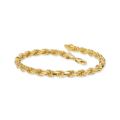 Made in Italy Gold Tone 24K Gold Over Silver Sterling Silver 9 Inch Solid Rope Link Bracelet