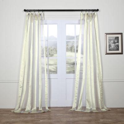 Exclusive Fabrics & Furnishing Organza Vertical Stripe Sheer Rod-Pocket/Back-Tab Curtain Panel