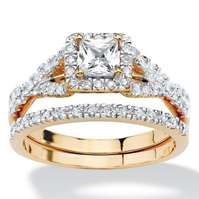 Fine Jewelry Diamonart Womens 5 1/2 CT. T.W. White Cubic Zirconia 18K Gold Over Silver Bridal Set 5uw4JmE