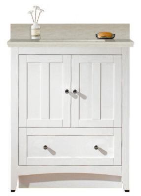 30.5-in. W Floor Mount White Vanity Set For 1 HoleDrilling Beige Top White UM Sink