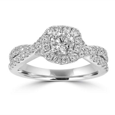 Womens 1 1/5 CT. T.W. White Diamond 14K White Gold Engagement Ring
