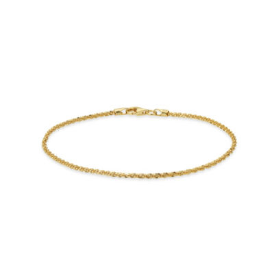 Made in Italy 24K Gold Over Silver Sterling Silver 7.5 Inch Solid Singapore Link Bracelet
