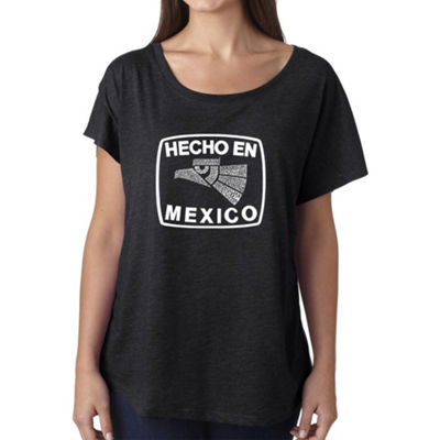 Los Angeles Pop Art Women's Loose Fit Dolman Cut Word Art Shirt - HECHO EN MEXICO