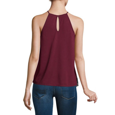 Almost Famous Sleeveless Straight Neck Knit Blouse-Juniors