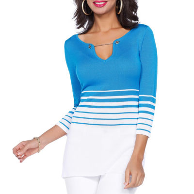 Kaily K. 3/4 Sleeve Striped Pullover