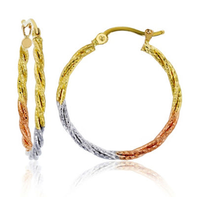 14K Tri-Color Gold 25mm Hoop Earrings