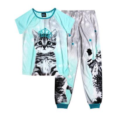 Jelli Fish Kids 2pc Cat Pant Pajama Set - Girls
