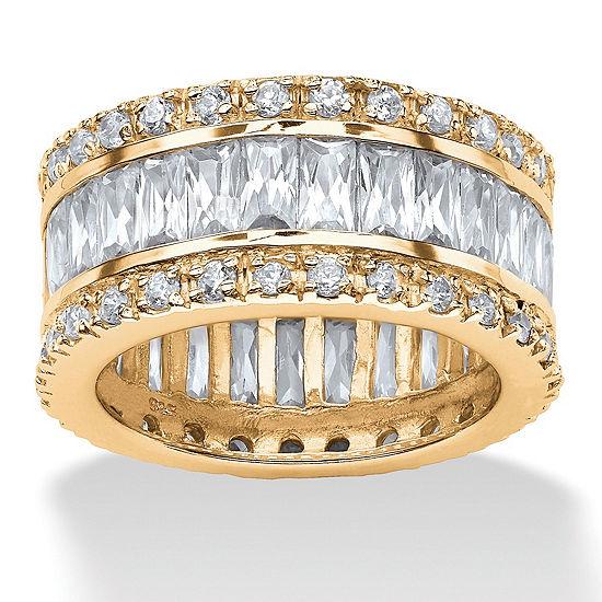 DiamonArt® 11.5MM White Cubic Zirconia 18K Gold Over Silver Round Band