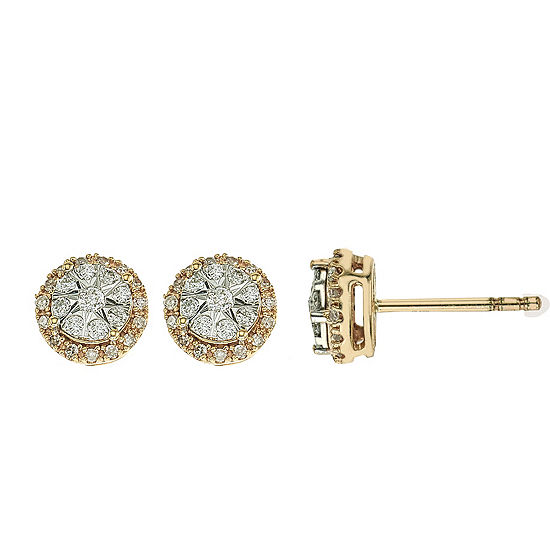 Diamond Blossom 1/4 CT. T.W. Genuine White Diamond 10K Two Tone Gold 7mm Stud Earrings