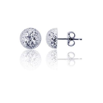 14K White Gold 8mm Stud Earrings