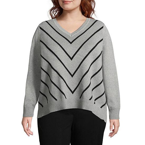 Liz Claiborne Chevron Pullover Sweater- Plus