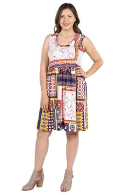 24Seven Comfort Apparel Tara Multicolor Patchwork Dress - Plus